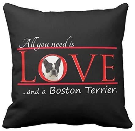 Wini2342ckey Boston Terrier - Funda de cojín cuadrada decorativa de lona para sofá, 45,7 x 45,7 cm