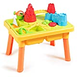 GOPLUS Table d'Activité de Sable et Eau 2 en 1 Écologique et Sûr avec 21 PCS Accessoires Amusants, Table à Sable et Eau Intérieure et Extérieure pour Enfant Plus de 3 Ans, Jaune