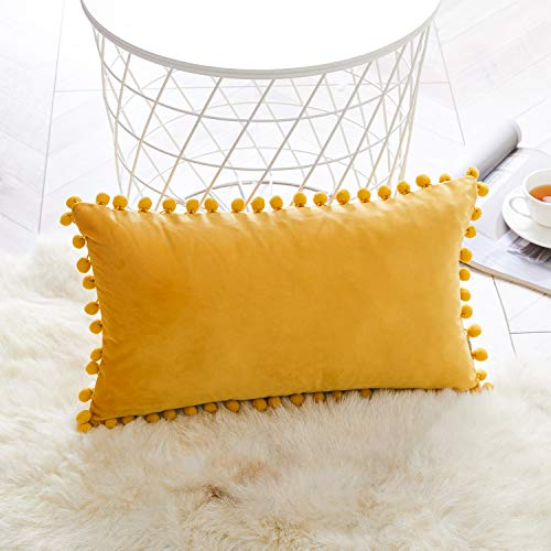 Topfinel Mustard Yellow Oblong Cushion Covers 12x20 Inch Velvet Soft Decorative Throw Pillowcase for Office Sofa Bedroom 30cmx50cm,1 Piece