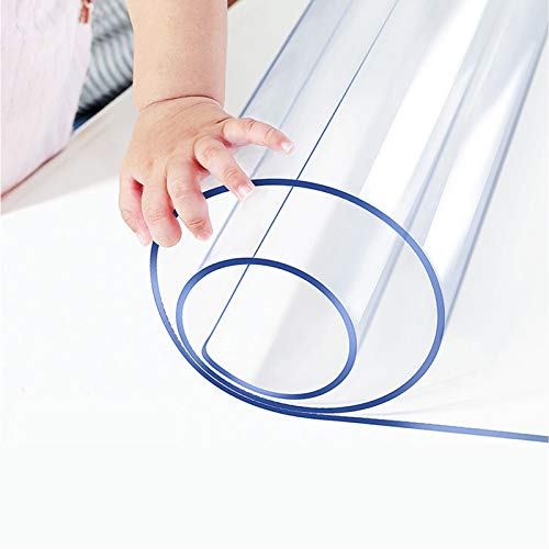 42 X 78 Inch Clear Table Protector Eco Clear Plastic Vinyl Tablecloth Rectangle Protective Desk Office Top Pad Cover Glass Wood Dining Coffee End Tabletop Protection Mat Clean Polyester Wipeable PVC