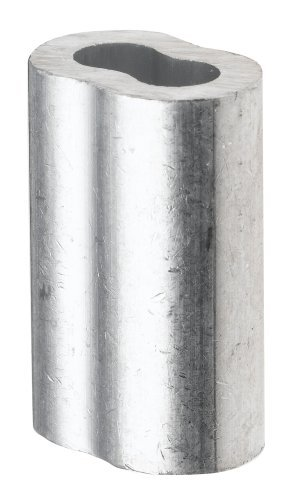 Aluminum Crimping Loop Sleeve for 3/16 Diameter Wire Rope and Cable, (Pack of 25)