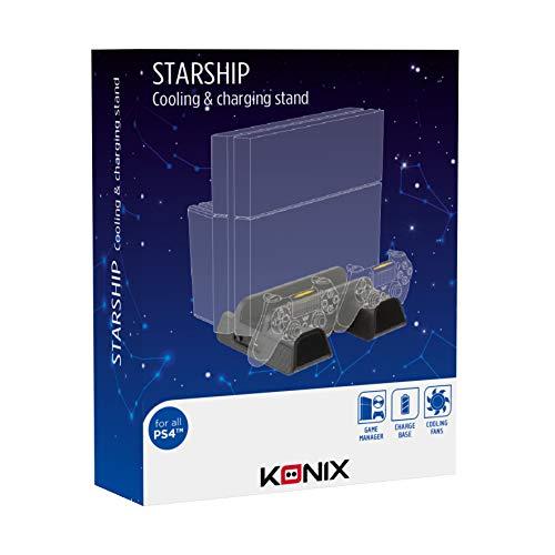 Konix Accessoire PS4 Station Accueil Multifonction - Ventilateur PS4 Pro Compatible PS4/Pro/Slim - Chargeur Manette PS4 - Socle Rangement Jeux Playstation 4 - Refroidisseur PS4 - Socle PS4 Vertical