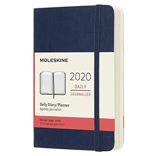 (modello precedente) - Moleskine 12 Mesi, anno 2020 Agenda Giornaliera, Copertina Morbida e Chiusura ad Elastico, Colore Blu Zaffiro, Dimensione Pocket 9 x 14 cm, 400 Pagine