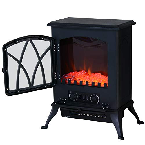 41FT795FySL. SS500  - HOMCOM Free Standing Electric Fireplace Stove with Fan and Log Burning Flame Effect 2000W / 1000W Room Heater Wood…