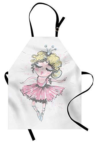Ballerina-Schürze, lockiges blondes behaartes niedliches Tänzer-Mädchen-Bleistift-Zeichnen in gedämpften Tönen Lustiges Gekritzel, Unisexküchen-Latzschürze mit justierbarem Hals für das Kochen backend