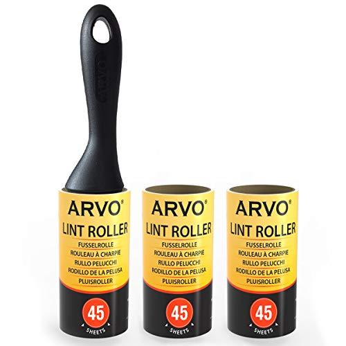 ARVO Fusselroller, 1 Griff mit 3 Rollen, 45 Blatt pro Rolle, entfernt Staub, Schmutz, Schuppen, Tierhaare von Kleidung, Möbeln und Teppichen.