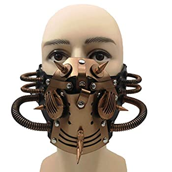 Steampunk Leather Mask Cosplay Mask Punk Rivet Masquerade Mask-Bronze