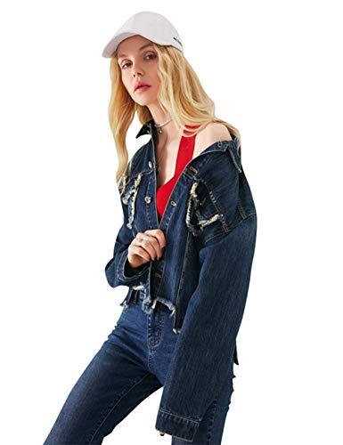 ELFSACK dames lange mouwen korte losse jeansjas casual mantel denim Coat feestelijke coat