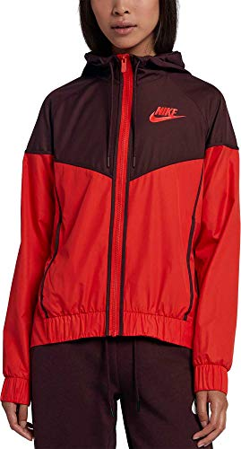 Nike Women's Sportswear Windrunner Jacket (Habanero Red/Black, Small)
