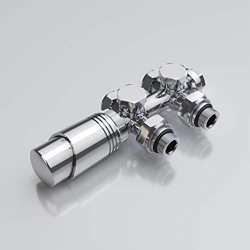 Sonni Multiblock Set für Heizkörper Anschlussarmatur inkl. Thermostat Ventil Hahnblock Heizungszubehör Eck- und Durchgangsform chrom