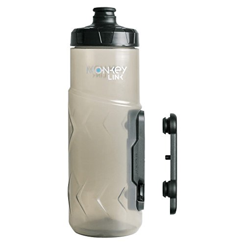 SKS Monkey Trinkflasche mit Flaschenhalter, Unisex, Erwachsene, transparent, 600 ml