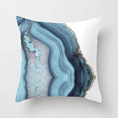 Blue Throw Pillow Cover Agate Marble Geometric Flower Cushion Cover For Home Sofa Decoration Pillow Cover Cushion Cover A8 45x45cm 2pc