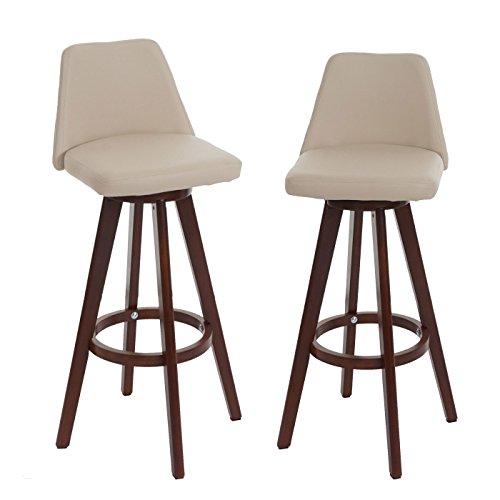 Mendler 2X Barhocker HWC-C43, Barstuhl Tresenhocker, Holz Kunstleder drehbar - Creme, dunkle Beine