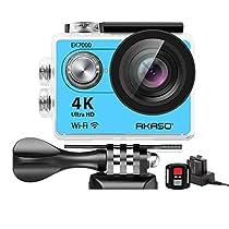 AKASO EK7000 4K WIFI スポーツ カメラ HD 1200万画素30メートル防水170度広角レンズ2インチ LCD 2.4G無線RF リモコンバイクや自転車/カート/車に取り付け可能 空撮やスポーツに最適 二つバッテリー&豊富な付属品付き(シルバー)