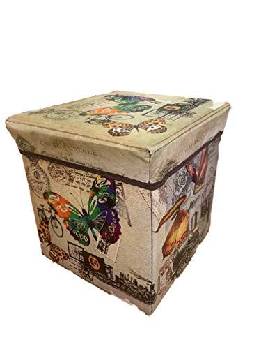 Ducomi - Puf Europuff contenedor plegable para decoración de hogares y salones, mueble cúbico con asiento y tapa, puf caja de ecopiel con estampado vintage multicolor, reposapiés compacto