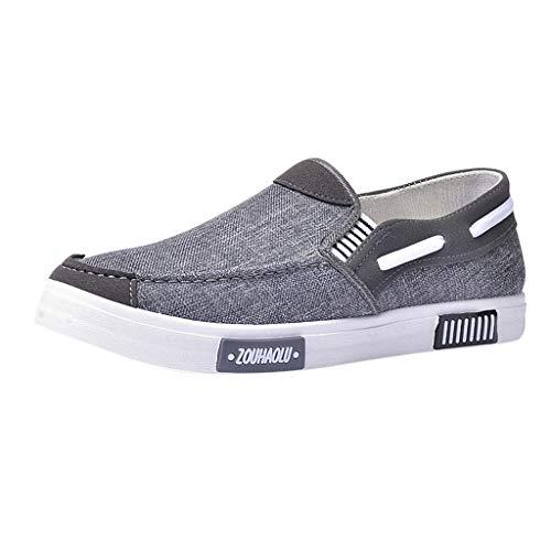 Slip On Sneaker für Herren/Skxinn Herrenschuhe Classic Low Top Canvas Mokassin Fashion Schlupfschuhe Bequeme Schuhe Ausverkauf(Z2-Grau,44 EU)