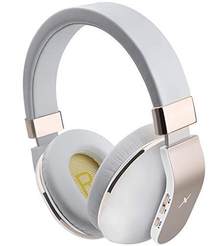 Riwbox XBT-780 Auriculares Bluetooth sobre la Oreja, Hi-Fi estéreo inalámbrico con micrófono Incorporado para Clase Online, Oficina en casa, PC teléfonos celulares TV (Blanco y Dorado)