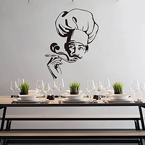 Usmnxo Chef Try Soup naklejka ścienna kuchnia restauracja szef garnek naklejka ścienna restauracja winyl dekoracja 80 x 74 cm