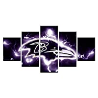 HAOSHUNDA Baltimore Ravens Logo Wall Decor Art Paintings5 Panel Canvas Print Wall Art HD Prints Sports Fan Pictures Gallery Wrapped?Framed? (8x14x2,8x18inx2,8x22inx1, Gallery Wrapped?Framed) 2