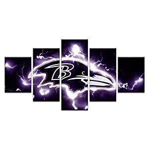 HAOSHUNDA Baltimore Ravens Logo Wall Decor Art Paintings5 Panel Canvas Print Wall Art HD Prints Sports Fan Pictures Gallery Wrapped?Framed? (16x24x2,16x32inx2,16x40inx1, Gallery Wrapped?Framed) 2