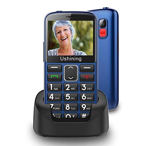 Seniorenhandy ohne Vertrag mit großen Tasten 2,3 Zoll,Ukuu GSM Tastenhandy Dual SIM Handy SOS Notruftaste Ladestation und Kamera Mobiltelefon 1000 mAh Akku Lange Standby-Zeit, Blau