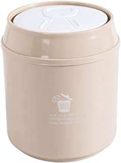C-J-Xin Hotel Trash Can, Small with Cover Trash Student Dormitory Office Children's Bedroom Trash Can Easy to Carry Trash ...
