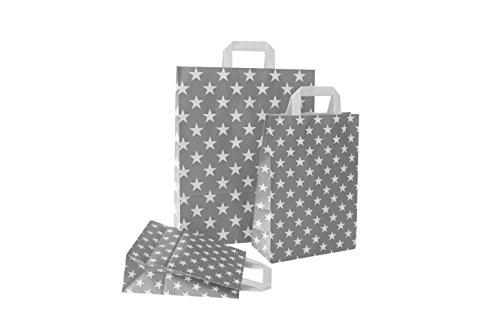 PGV Papiertragetaschen mit Flachhenkel Sterne GRAU (32 + 12 x 40 cm, 50 Stück)