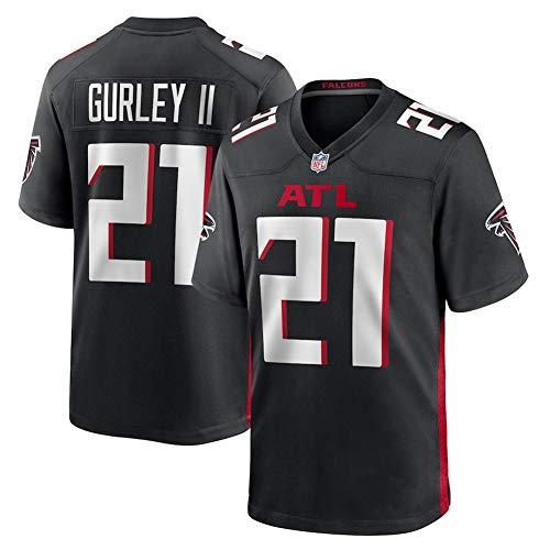 Herren NFL Rugby Shirt Atlanta Falcons Herren Rugby Shirt # 11 Jones # 21 Gurley II American Football Sportswear Kurzarm Sport T-Shirt,Black 21,M