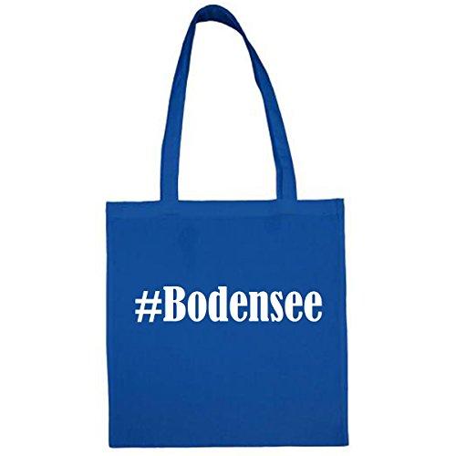 Tasche #Bodensee Größe 38x42 Farbe Blau Druck Weiss