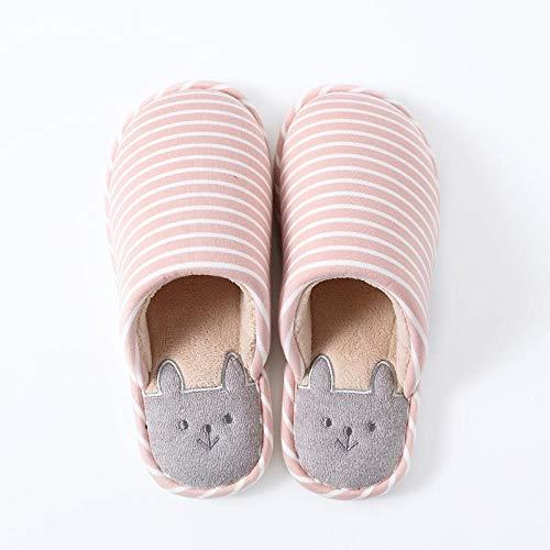 Zapatos Invierno Algodon Casa Slippers,Lindas Pantuflas cálidas para el hogar, Pantuflas de algodón Antideslizantes de Suela Suave y Suela Gruesa-Pink_37-38,Zapatillas casa con