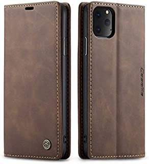 CaseMe for iPhone 11 Pro Max Wallet Case, Anti-Fall Retro Handmade Leather Magnetic Flip case with Kickstand,Card/Cash Slo...