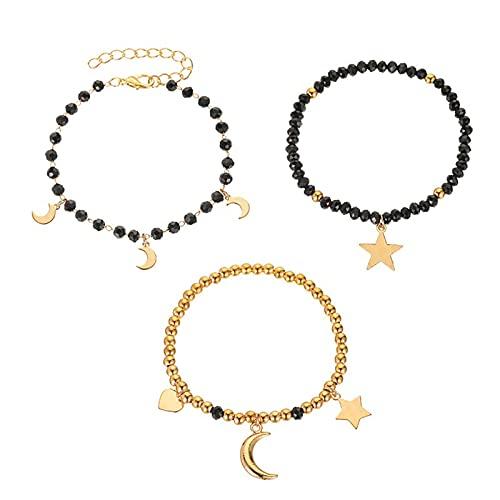 Walbest Pulseira, 3 peças/conjunto feminino feito à mão luas estrelas, pingente de coração de resina preto para encontros - preto Preto