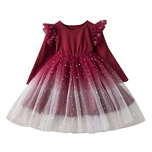 YQSR Vestido para nia de manga larga con estampado de princesa, vestido de princesa, vestido para nia, vestido de princesa, rojo sanda, 7-8 aos