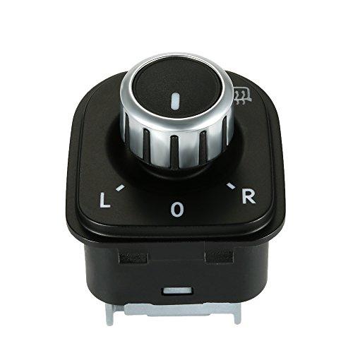 KKmoon Car Side View Mirror Rear View Mirror Switch Adjust Plating Control Knob with Heat for VW Golf 5 / Sagitar / GTI