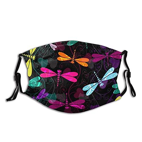 Protector facial protector bucal colorido libélulas pasamontañas bucal Bandanas cuello Polaina con 2 filtros