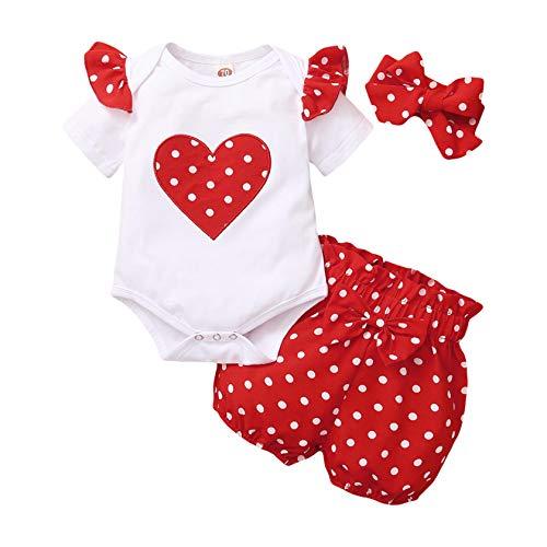 3 PCS Bambina Completini e Coordinati Neonata Top + Pantaloni + Headband Prima Infanzia Abbigliamento (0-3 Mesi, 1# Rosso Stile Corto)