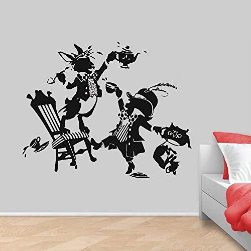 Conejito de dibujos animados arte vinilo de pared diseño de jardín de infantes Alicia en el país de las maravillas pegatinas de pared decoración del hogar impermeable
