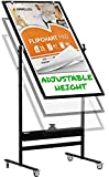 Mobile Whiteboard - 48x24 Large Adjustable Height 360° Reversible Double Sided Dry Erase Board - Magnetic White Board on Wheels - Portable Rolling Easel with Stand, Flip Chart Holders | Black