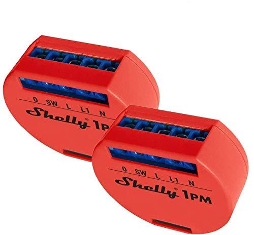 Shelly 1PM Wireless relè Interruttore Intelligente domotica, Amazon Alexa e Google Home 2 pz monitor energia