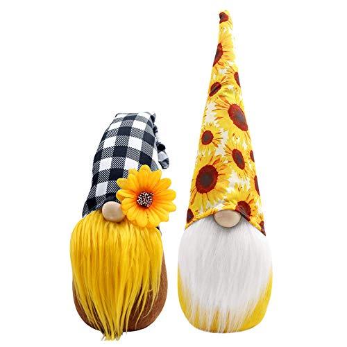 大将 2 decoraciones de felpa de gnomo, primavera girasol, gnomo Plushie, decoración del hogar, casa de granja y cocina