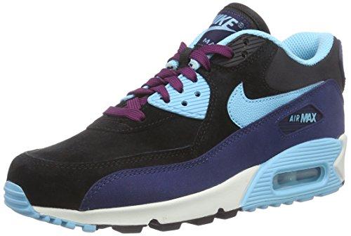 Nike Wmns Air MAX 90 LTHR, Zapatillas Mujer, Multicolor 400 Mid Navy TD Pl Bl Blk Mlbrry, 38.5 EU