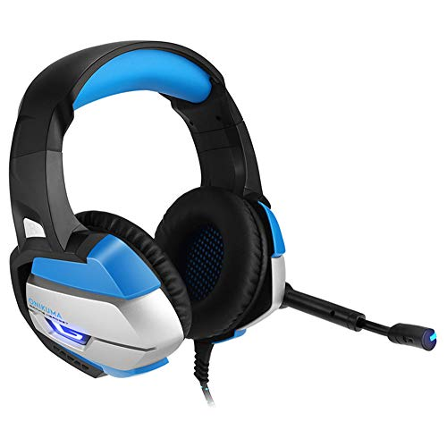 Best Game Headset Game Console Casque Deep Bass Game Headset Computer PC PS4 Laptop Notebook with Microphone LED Noise Reduction PS4 Headset,Blue