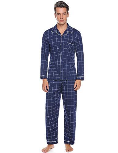 Aibrou Herren Baumwolle Pyjama Set, Winter Warm Langarm Zweiteiliger Schlafanzug, Langarm Shirt mit Hosen Marineblau L