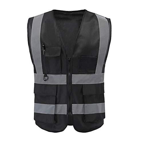 Vest Workwear Safety Gilet Reflecterende Securite Veiligheid Vest Reflector Mouwloos Jas Zwart