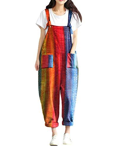 Style Dome Latzhose Damen Jumpsuit Sommer Retro Overalls Oversize Lose Hose Lange Baggy Sommerhose Lange Harem Playsuit Trousers G Red-66346 XL