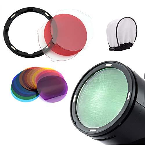 Godox AK-R16 Magnetische Diffusorplatte mit V11C-Farbeffektgel-Set für Blitzlicht der Godox V1-Serie V1-C V1-N V1-F V1-S V1-O Speedlite