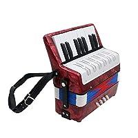 どちらも子供アダルトレッドための17鍵のプロフェッショナルミニアコーディオン教育楽器 (Color : Red)