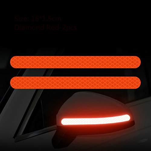 2 Stück Reflectante Autoaufkleber Reflektor Rückspiegel Reflektierendes Band Autozubehör Außenreflex TapeReflective Strip