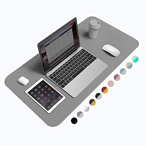 "Desk Pad Protector Office Desk Mat, BUBM Waterproof PU Leather Desk Writing Mat Laptop Large Mouse Pad Desk Blotters Desk Decor for Office Home, 31.5"" x 15.7"", Grey"