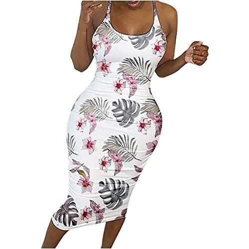 Hailmkont Vestido de verano para mujer, sexy, con espalda descubierta, vestido de fiesta, vestido de calle, vestido ajustado al cuello, hombros descubiertos, Blanco, Talla única